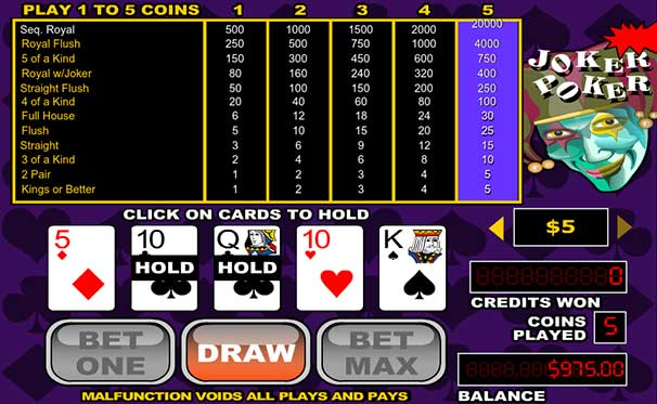 joker poker screenshot